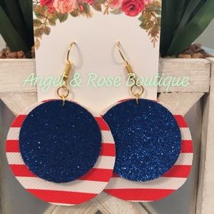 ❤️Cute❤️ Americana Shimmery Round Earrings